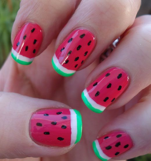 Watermelon Nail Art | on white pure white creme nail polish sally hansen nail art pen black