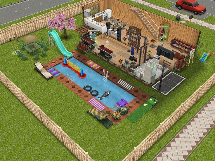 Sims freeplay sims freeplay pinterest house design for Pool design sims 3