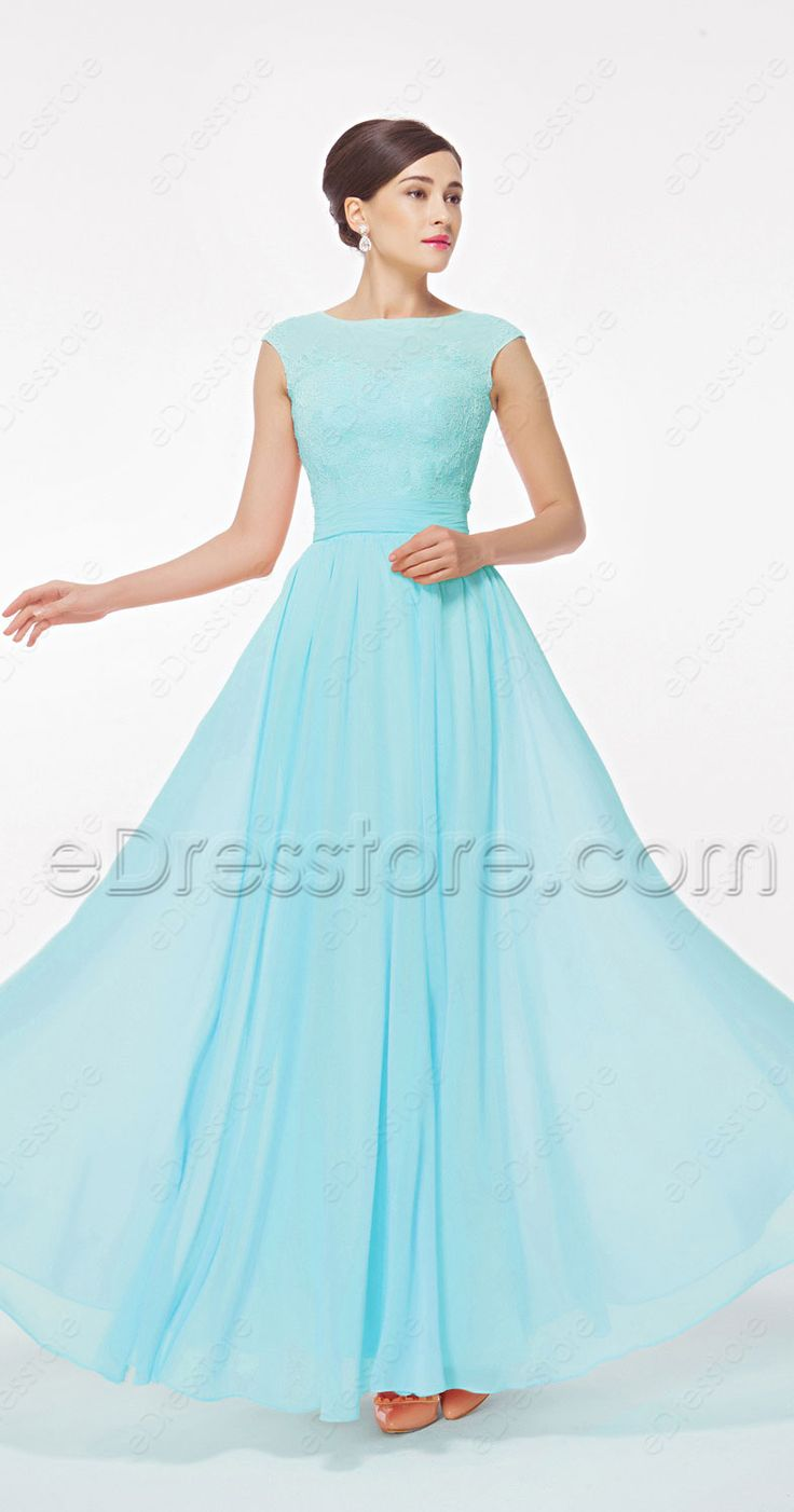 Modest prom dresses, prom dress with cap sleeves, light