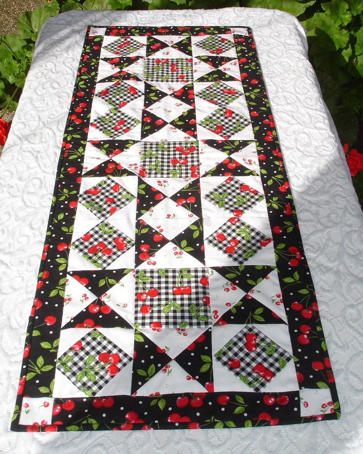Cherry Table Runner Quilt  Cherries Black White Red by KeriQuilts, $42.00