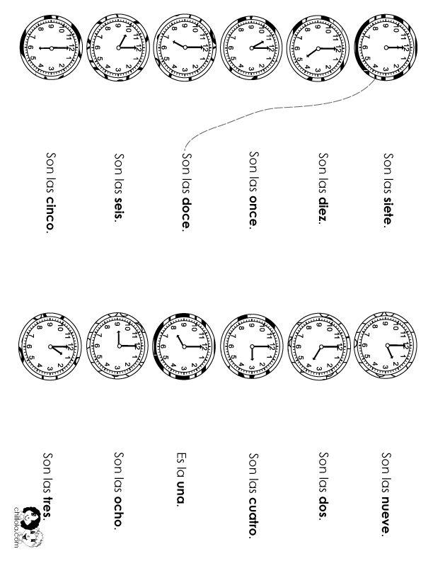 Spanish Worksheets for Kids: Spanish Telling Time Worksheets Pack