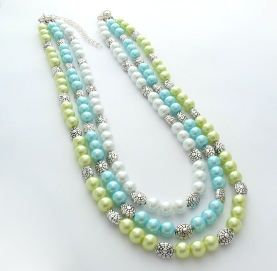 Statement Necklace Triple Strand Aqua & Lime by MoonlightShimmer, $20.00
