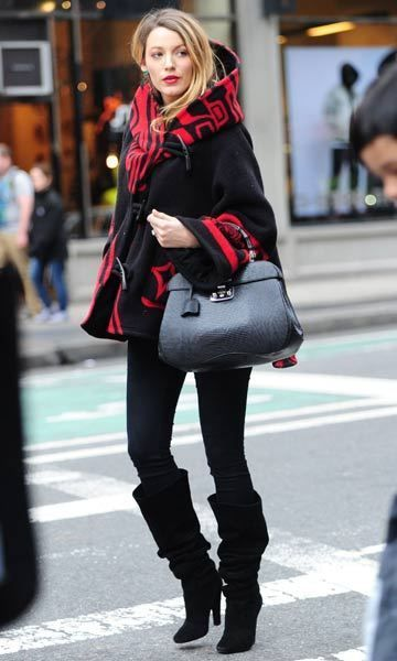 Blake Lively wraps her baby bump in a stylish cape