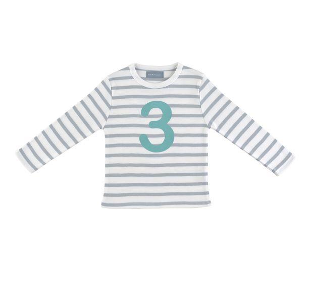 """T Shirt wit & grijze strepen """"3"""""""