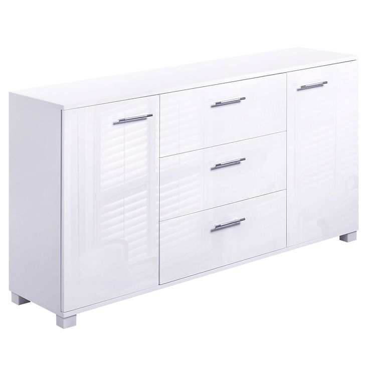 High Gloss Sideboard Storage Cabinet MDF Panels Anti-rust Cupboard White
