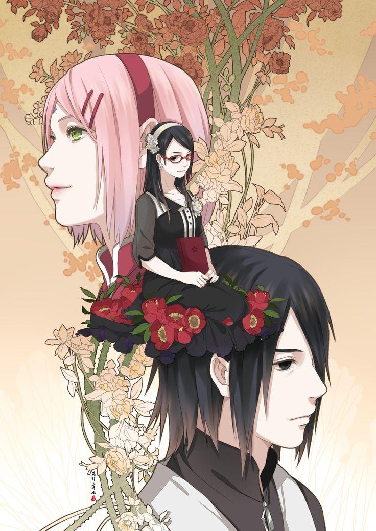 Tags: Fanart, NARUTO, Haruno Sakura, Uchiha Sasuke, Pixiv, Fanart From Pixiv, Uchiha Clan, Uchiha Sarada, Pixiv Id 7513453