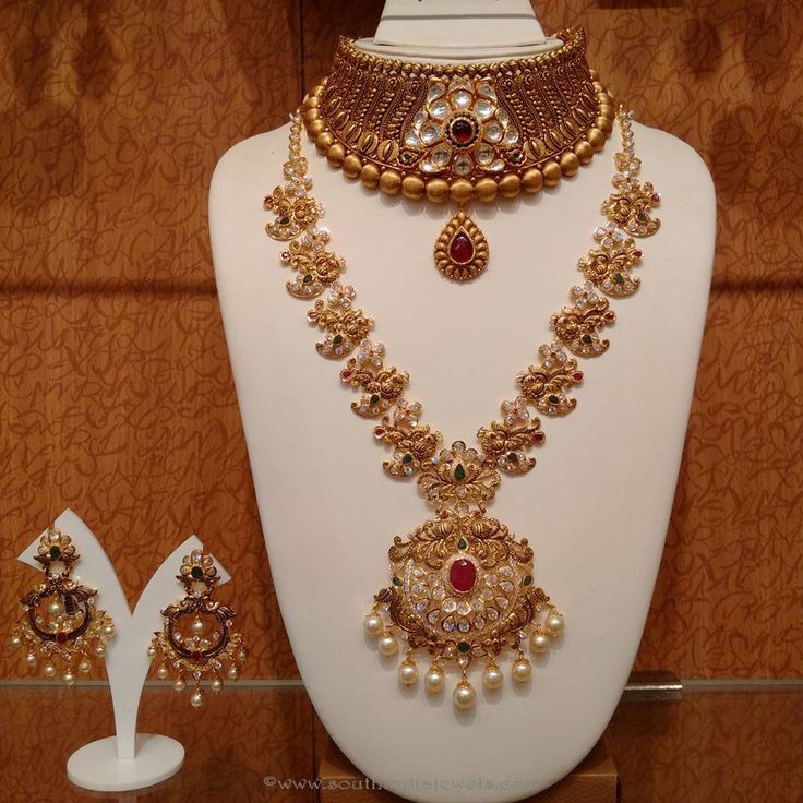 Gold Antique Bridal Jewellery Designs, South Indian Bridal Jewellery Designs, South Indian Wedding Jewellery Designs.
