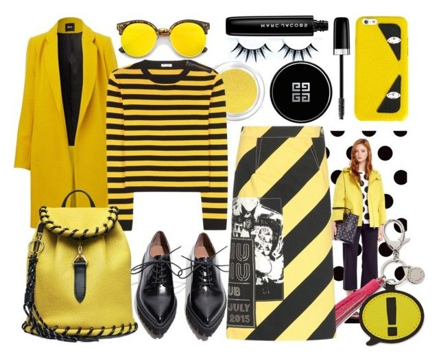 """""""black and yellow"""" by arta ❤ liked on Polyvore featuring Givenchy, Miu Miu, Jeffrey Campbell, Revo, RED Valentino, Rebecca Minkoff, Marc Jacobs and Fendi"""