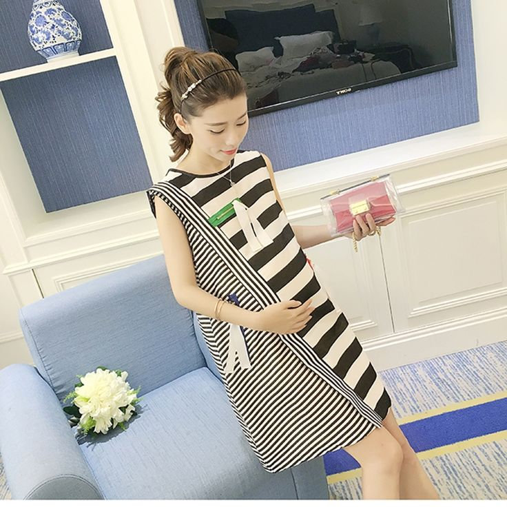 46.82$  Buy here - http://alisk8.worldwells.pw/go.php?t=32691525264 - Striped Pregnant Maternity Summer Dress Sleeveless Gestantes Sundress For Pregnant Women Clothing Maternity Gown 502113 46.82$
