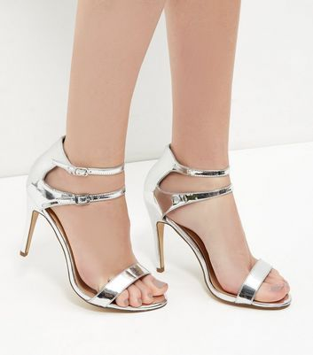 New Look Sale £9 Silver Mirror Patent Double Ankle Strap Heels
