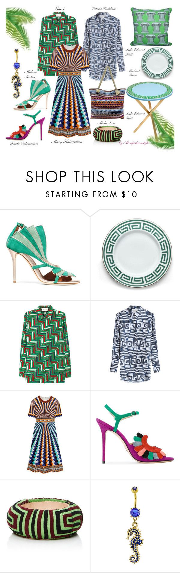 """Grecia stile mosaico"" by alvufashionstyle ❤ liked on Polyvore featuring Malone Souliers, Luke Edward Hall, Richard Ginori, Gucci, Victoria, Victoria Beckham, Mary Katrantzou, Paula Cademartori and Mola SaSa"