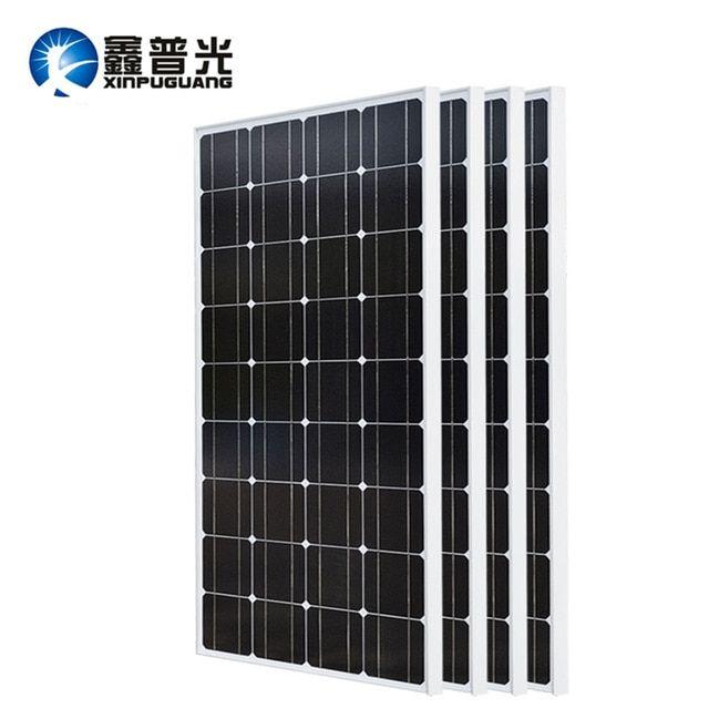 Xinpuguang 2pcs 3pcs 4pcs Solar Panel 100w 18v Glass Solar Panels 200w 300w 400w Panneau Solaire Monocrystalline Sol Solar Panels Solar Cell Solar Power Panels