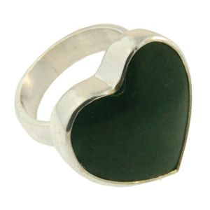 Sterling Silver & Greenstone Heart Ring, handmade at Cameron Jewellery by Sam Drummond.