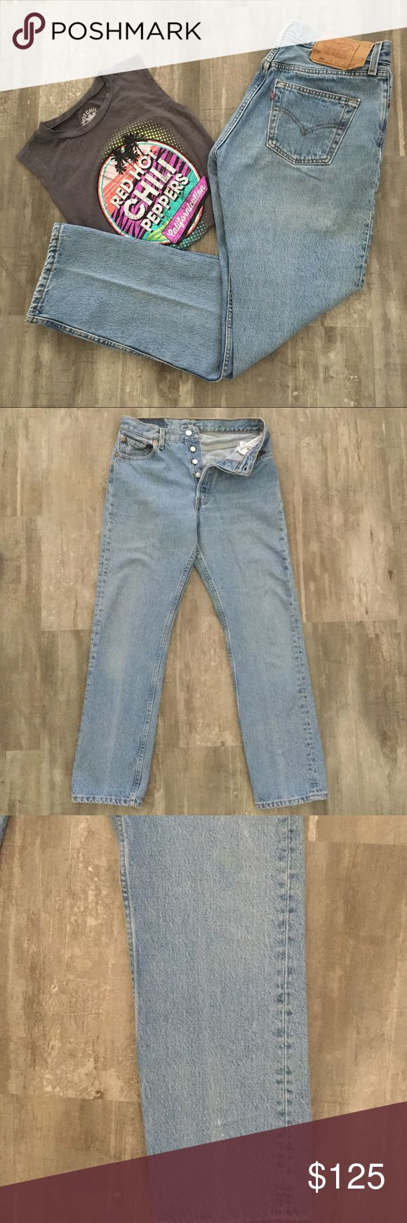 Levi's👖Vintage 501 Button Fly/Made in 🇺🇸 Amazing WOMEN'S Vintage Levi 501 Button fly jeans in very good preloved condition.  These are the last of the 501's to be Made in the USA.  An actual date is impossible to determine but could go back to 1993, the latest. A few minor yellowish stains, may or may not come out, Dawn dish soap works best. Please enlarge photos. 100% cotton, heavy denim, no stretch. Compare measurements to your own jeans to determine fit, would best fit 27/28, IMO…