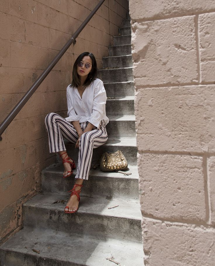 Aimee Song of Song of Style wears The Jocelyn in Emerson Stipe || Shop on PAIGE.com