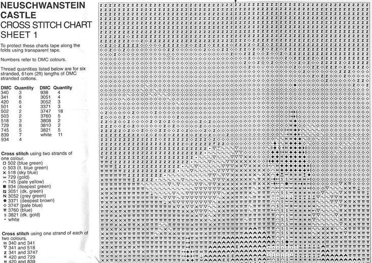 Schema punto croce Castello Neuschwanstein 08