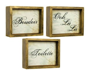 French Country Signs - this font and weathering treatment on paper