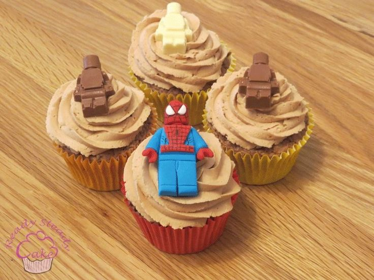 Lego men and lego spiderman cupcakes