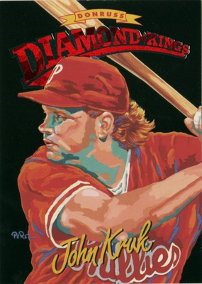 """John Kruk"" for Donruss Diamond Kings baseball card series in 1994 by Dick Perez"