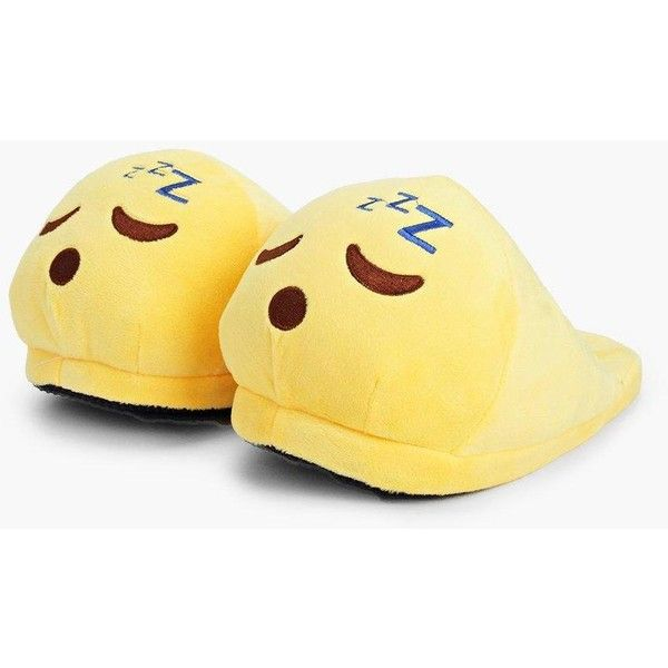 Boohoo Sleepy Emoji Soft Slippers (71 BRL) ❤ liked on Polyvore featuring shoes, slippers and yellow