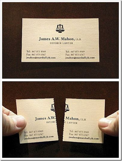 """""""10 Creative Business Cards"""" from A Cup of Jo.  The divorce lawyer one almost makes me want to get married... so I can get divorced!  The massage therapist one made me think for a second - then, awesomeness!"""