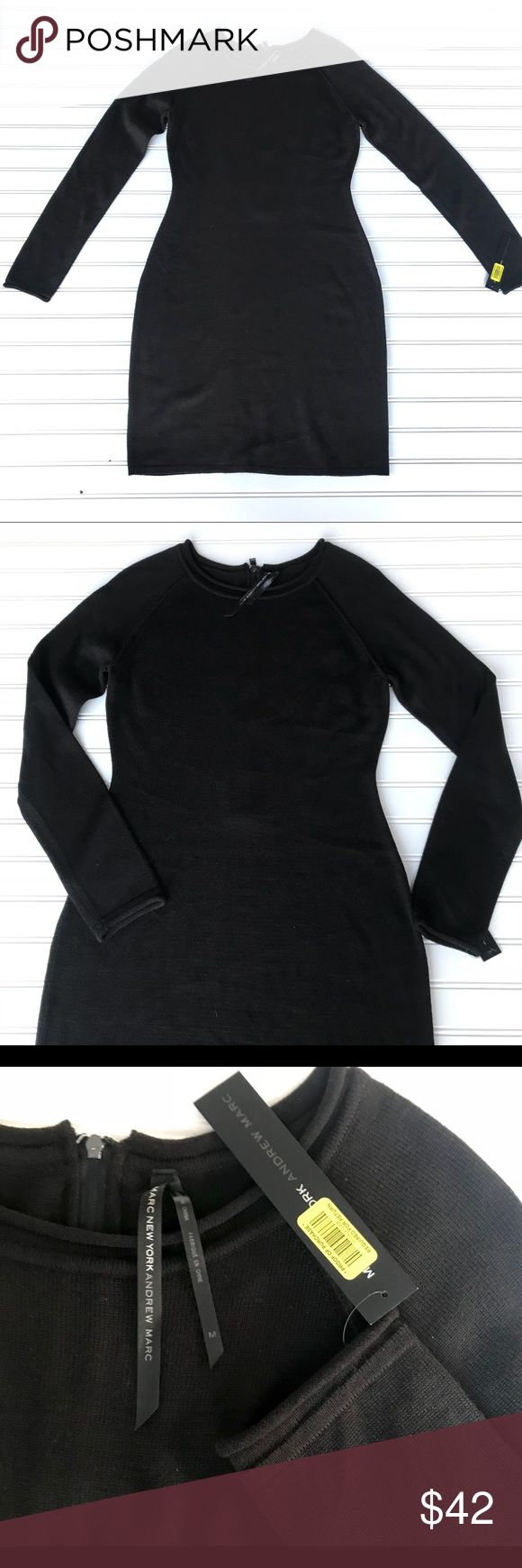 NWT Marc New York Andrew Marc Black Dress Size M NWT beautiful flatting black sweater dress by Marc New York Andrew Marc. Accent zipper on back. Scoop neck. 100% Acrylic  Size M Check out my other listing for bundle deals! Marc New York by Andrew Marc Dresses Long Sleeve