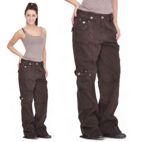 Details about Ladies Womens Brown Baggy Loose Cargo Pants ... - photo#47
