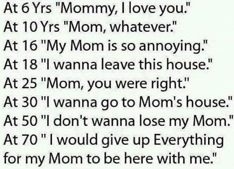 "At 5 Yrs ""Mommy, I love you.""  At 10 Yrs ""Mom, whatever.""  At 16 Yrs ""My Mom is so annoying.""  At 18 Yrs ""I wanna leave this house.""  At 25 Yrs ""Mom, you were right.""  At 30 Yrs ""I wanna go to Mom's house.""  At 50 Yrs ""I don't wanna lose my Mom.""  At 70 Yrs ""I would give up Everything for my Mom to be here with me."""