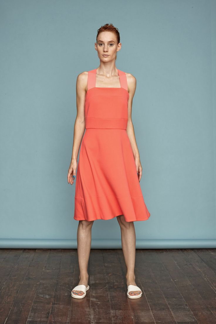 Neon orange-pink recycled dress from Dori Tomcsanyi. #recycled #polyester #sustainable #collection #doritomcsanyi #ss15