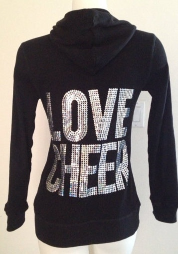 Love Cheer Cheerleading Zip Up its so cute if only it was in purple silver and black it would be perfect
