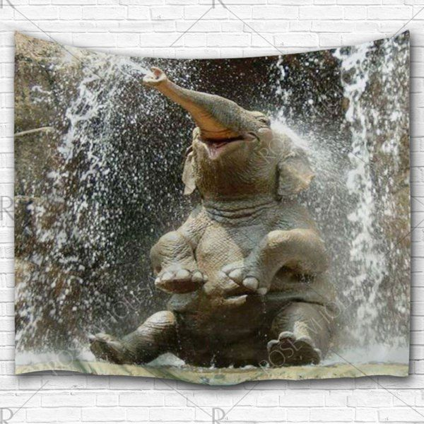 Elephant Spray Water Wall Hanging Tapestry – Taupe W59 Inch * L59 Inch Mobile