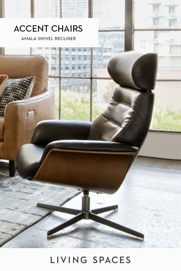 Amala Dark Grey Leather Reclining Swivel Chair With Adjustable