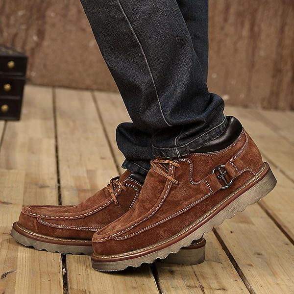 Men Comfortable Hand Stitching High Top Suede Oxfords Boots - US$59.12