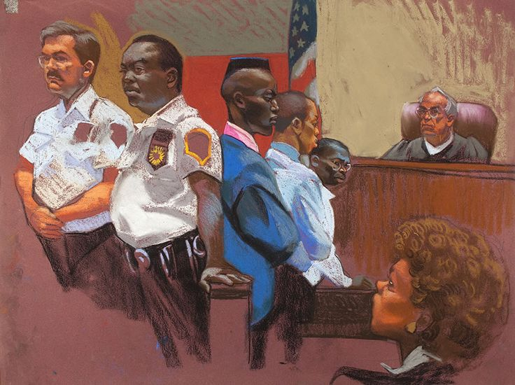 Explore the miscarriage of justice of 5 young men in NYC in the documentary THE CENTRAL PARK FIVE from Ken Burns, David McMahon and Sarah Burns. (Courtroom sketch by Christine Cornell)