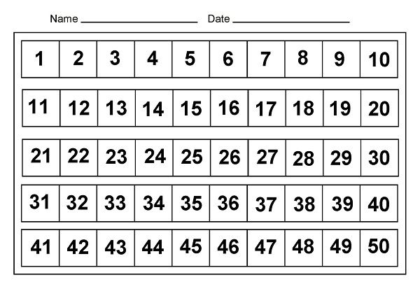1-50 number chart complete | Printable | Pinterest | Number chart ...