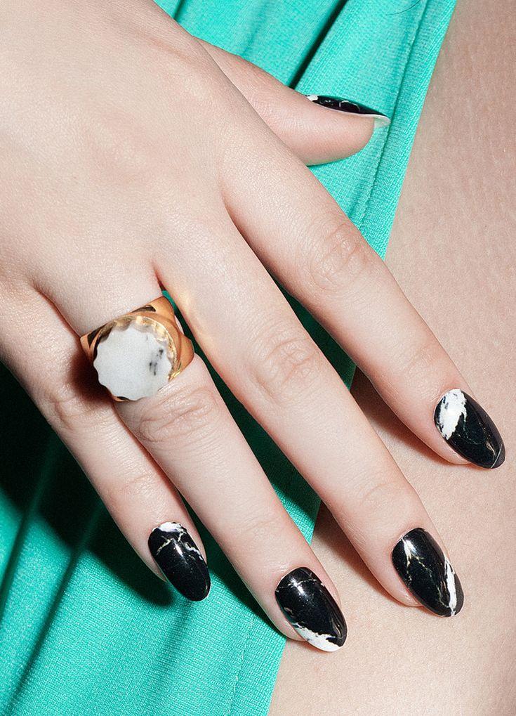 Ashford Black marble nail wraps