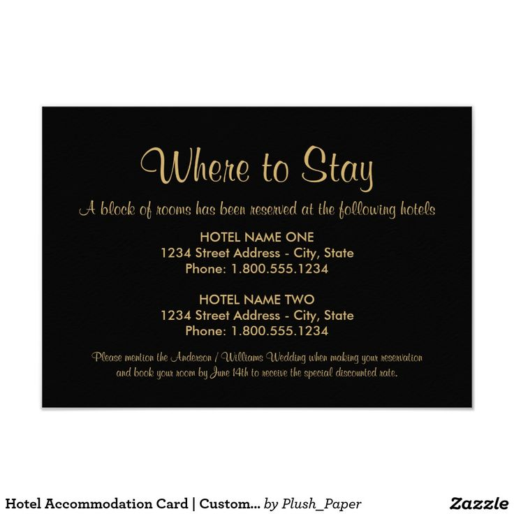Hotel Accommodation Card | Custom Colors                              …