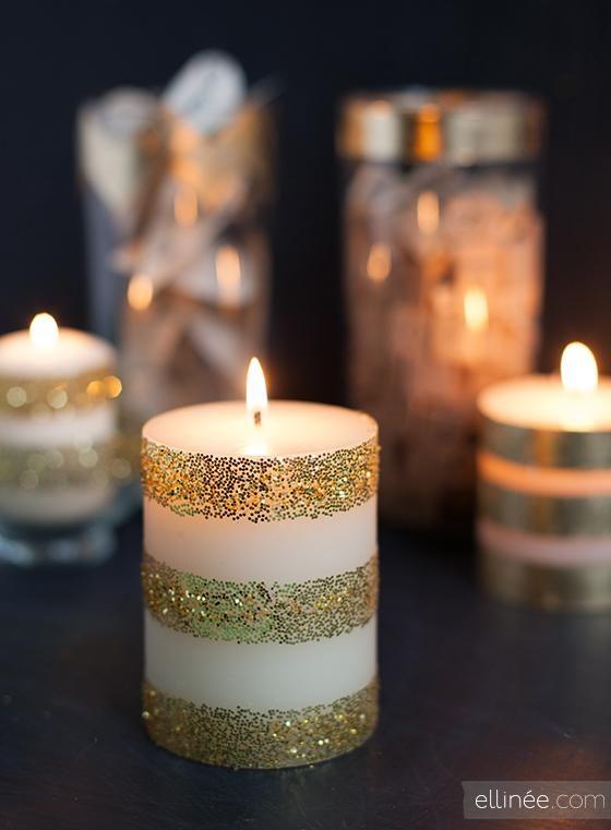 Glitter & Tape DIY Candle
