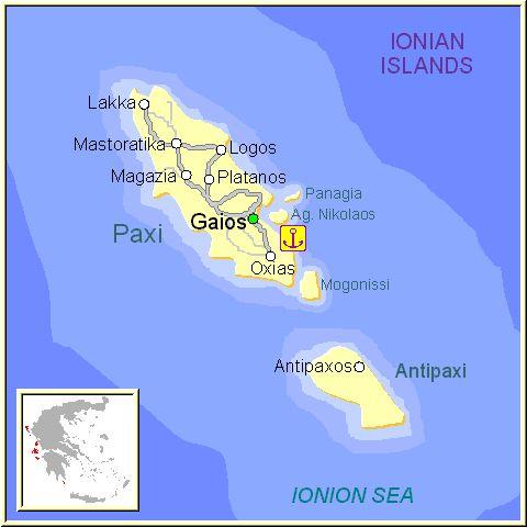 Mapa de la isla de Paxos, en las Islas Griegas Jónicas, Grecia.