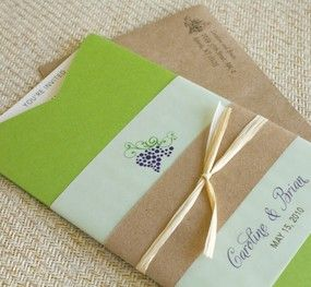 Winery Boarding Pass Wedding Invitation (Green Jacket and Grapes)