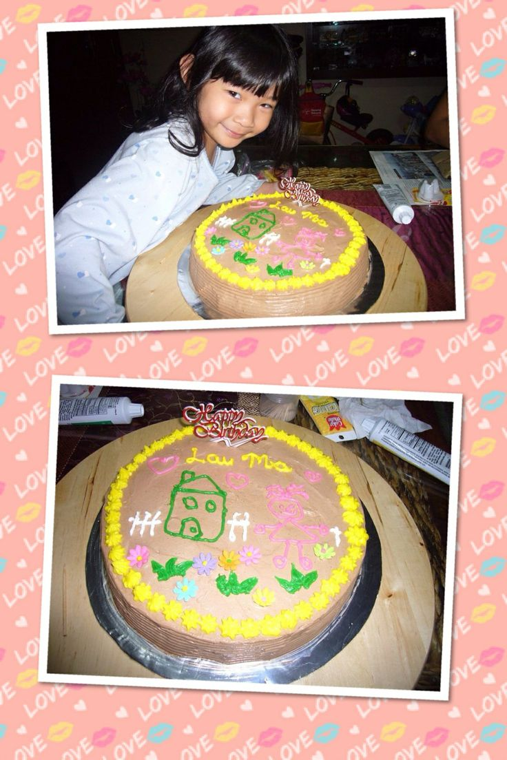Chocolate cake decorated by little girl