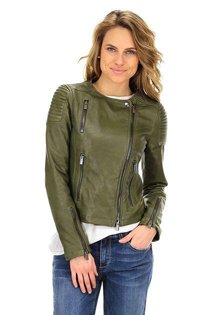 Vintage De Luxe - Giacche - Abbigliamento - Giacca in pelle con zip di chiusura e doppio petto. tasche alterali con chiusura a zip.La nostra modella indossa la taglia /EU 40. - MILITARE - € 348.36
