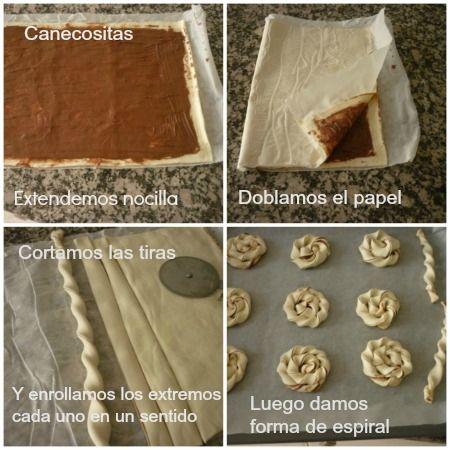 Espirales o caracolas de hojaldre con nocilla - CHOCOLATE OR SPIRAL CARACOLAS  Ingredients:  1 sheet of puff pastry rentangular   Nocilla  1 egg beaten to paint, optional
