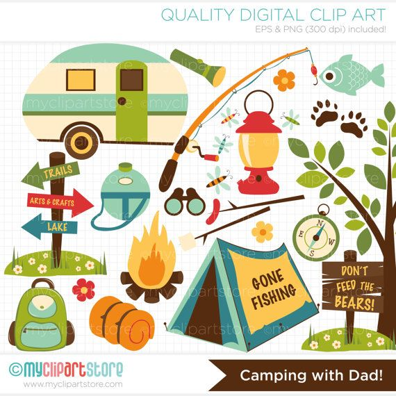 Clipart  Camping with Dad / Fishing / Father's by MyClipArtStore
