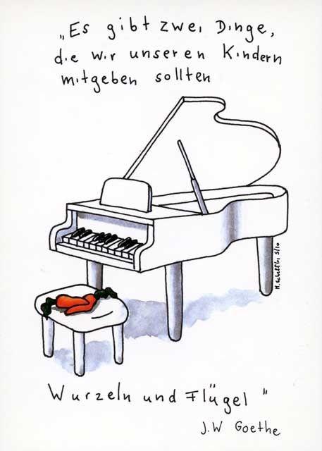 Lustige Postkarte - Es gibt zwei Dinge, die wir unseren Kindern mitgeben sollten: Wurzeln und Flügel Postkarten Lustige Sprüche