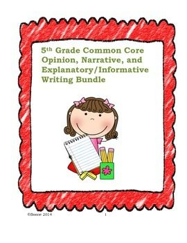 I bundled together my 5th Grade Common Core Opinion Writing, Narrative Writing, and Informative/Explanatory Lessons. All three genre lessons are complete with student samples, brainstorm activities, graphic organizers, checklists, extension activities, and..