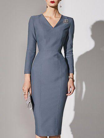 Long Sleeve V Neck Sheath Party Solid Midi Dress