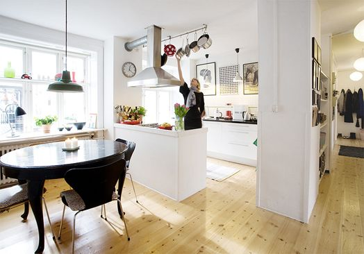 Love the Scandinavian kitchen, floor boards and layout