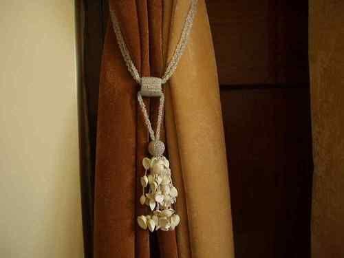 Pair - Cream Beaded Decorative handmade Tiebacks / Tassel / Curtain Holdback