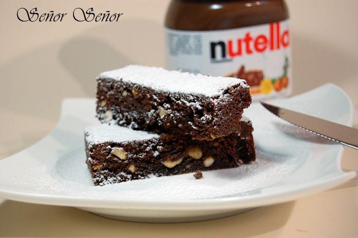 Brownie de Nutella y avellanas de http://www.recetasdecocinadesergio.com/2013/06/brownie-nutella-avellanas-postre-facil.html